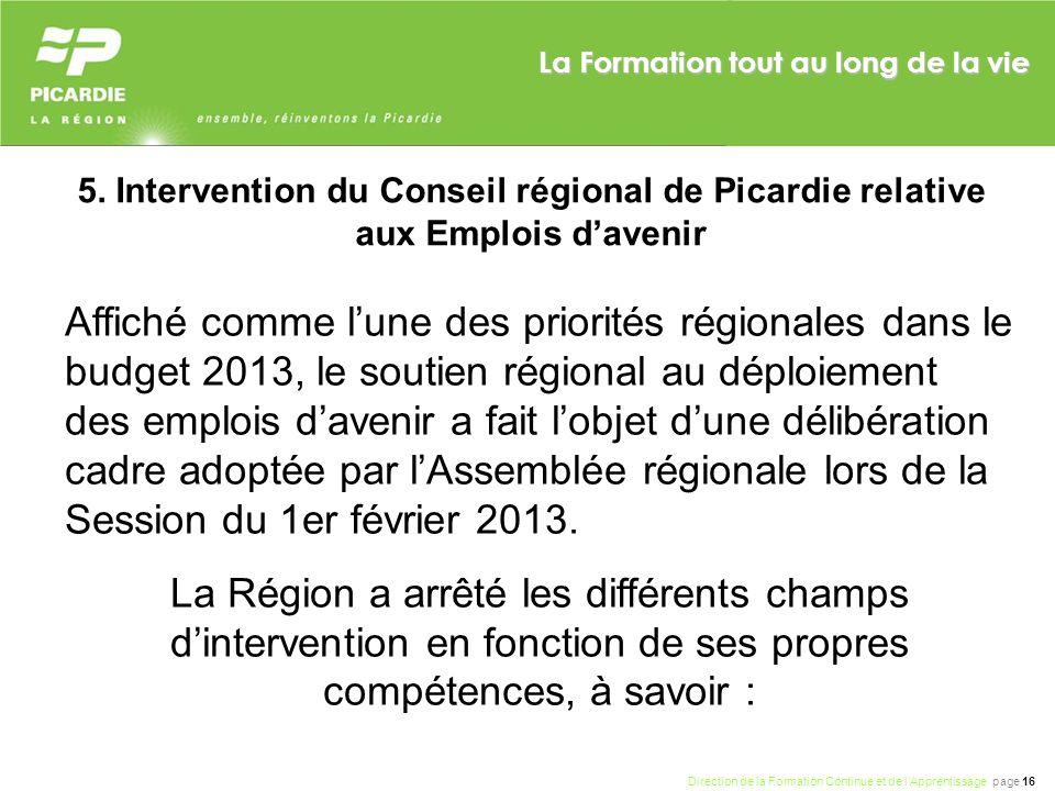 5. Intervention du Conseil régional de Picardie relative aux Emplois d'avenir
