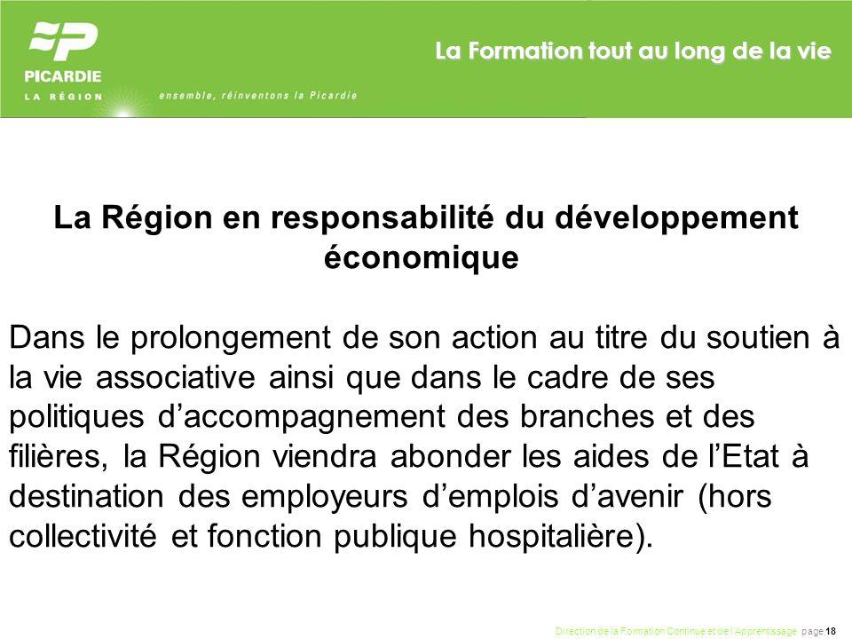 La Région en responsabilité du développement économique