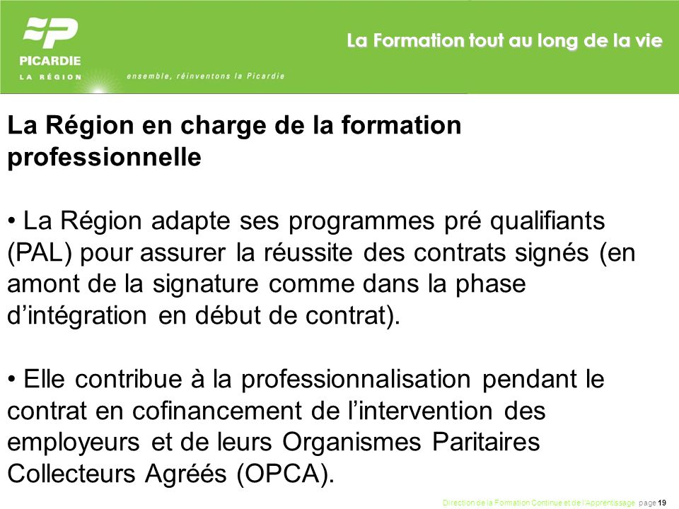 La Région en charge de la formation professionnelle