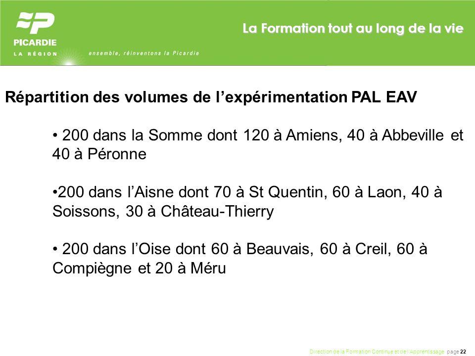 Répartition des volumes de l'expérimentation PAL EAV