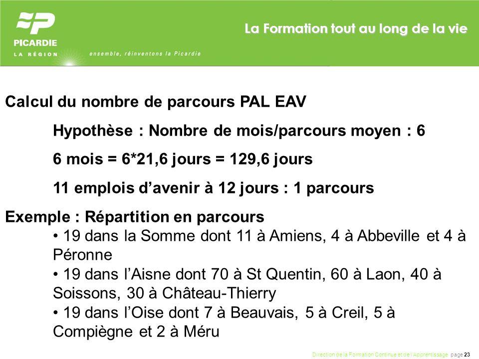 Calcul du nombre de parcours PAL EAV