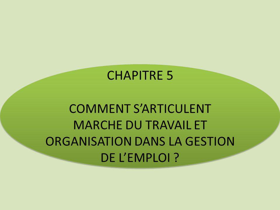 CHAPITRE 5 COMMENT S'ARTICULENT MARCHE DU TRAVAIL ET ORGANISATION DANS LA GESTION DE L'EMPLOI