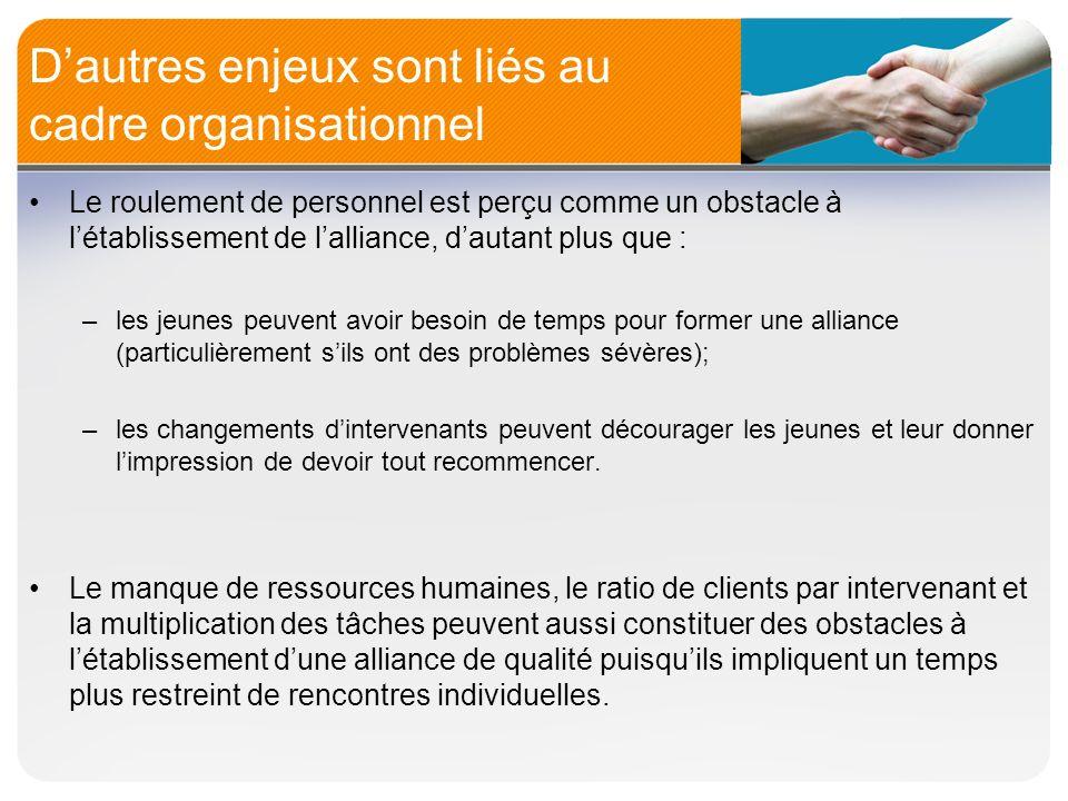 D'autres enjeux sont liés au cadre organisationnel