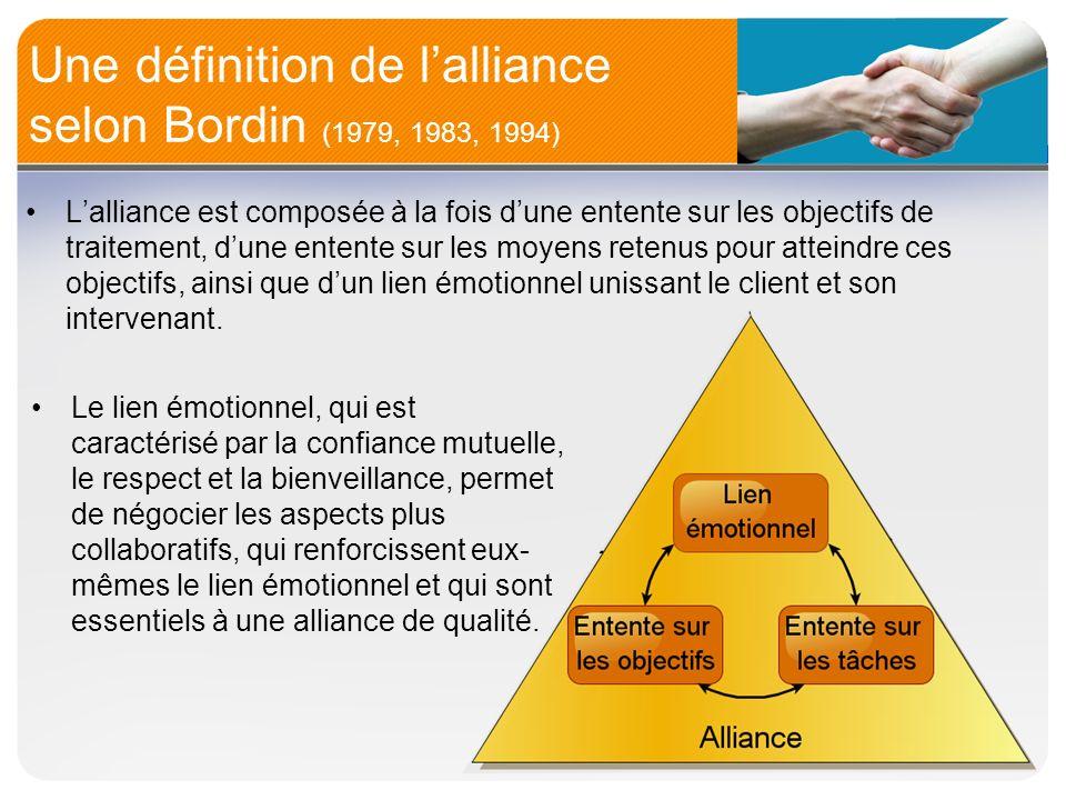 Une définition de l'alliance selon Bordin (1979, 1983, 1994)