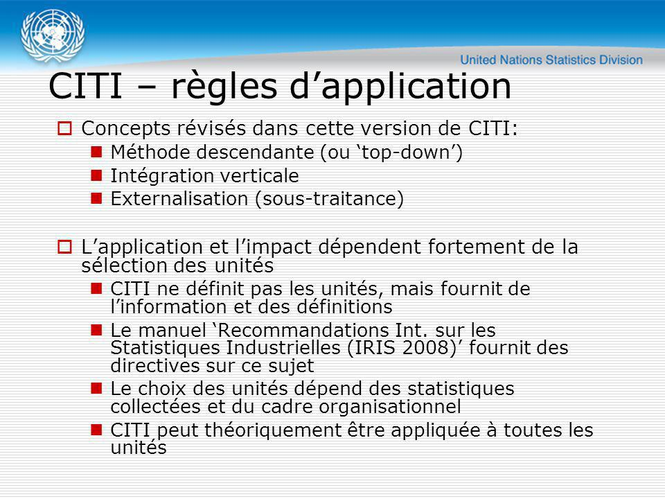 CITI – règles d'application