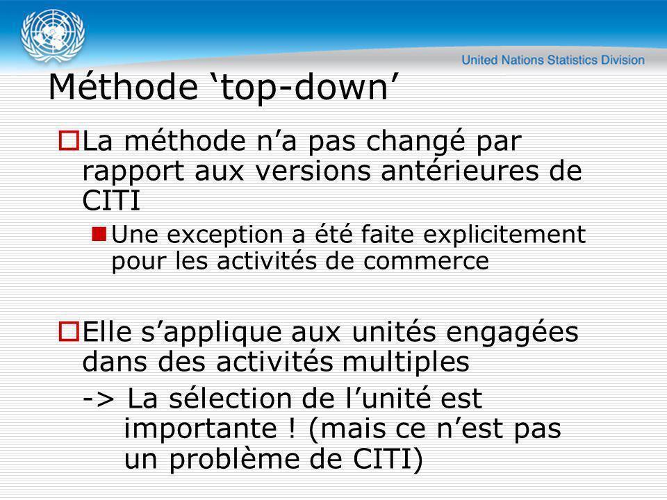Méthode 'top-down' La méthode n'a pas changé par rapport aux versions antérieures de CITI.