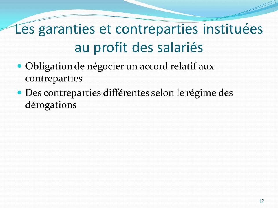 Les garanties et contreparties instituées au profit des salariés
