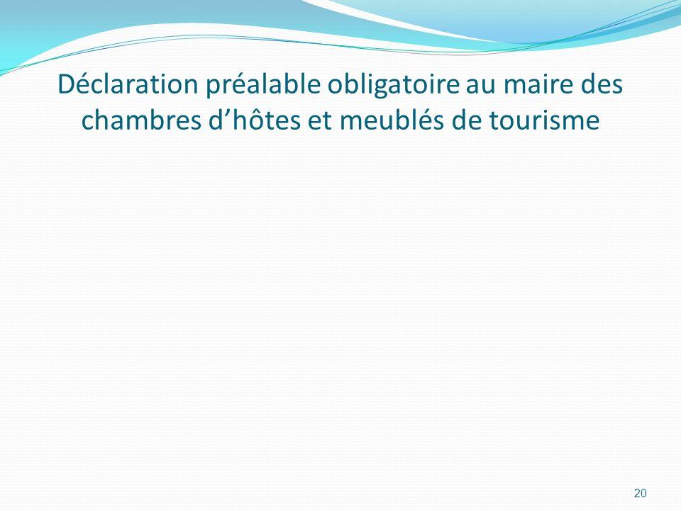 Déclaration préalable obligatoire au maire des chambres d'hôtes et meublés de tourisme