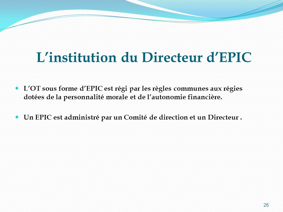 L'institution du Directeur d'EPIC