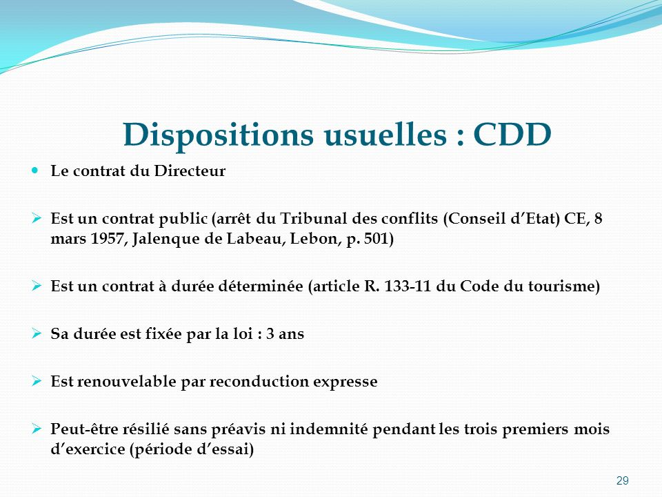 Dispositions usuelles : CDD
