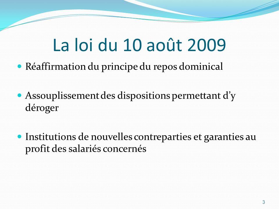 La loi du 10 août 2009 Réaffirmation du principe du repos dominical