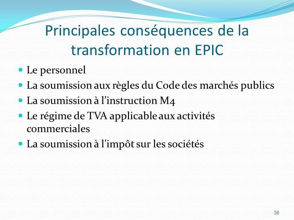 Principales conséquences de la transformation en EPIC