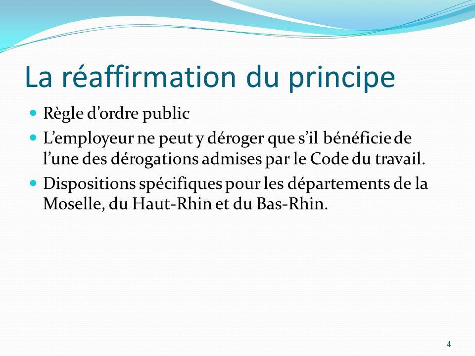 La réaffirmation du principe