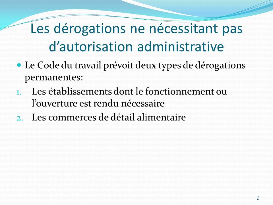 Les dérogations ne nécessitant pas d'autorisation administrative