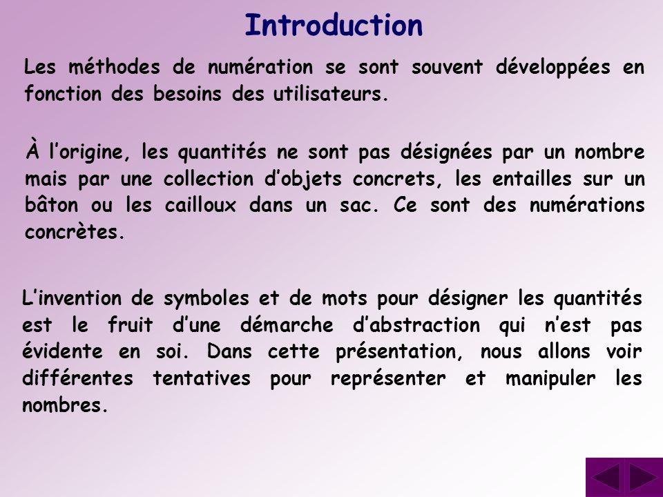 Introduction Les méthodes de numération se sont souvent développées en fonction des besoins des utilisateurs.