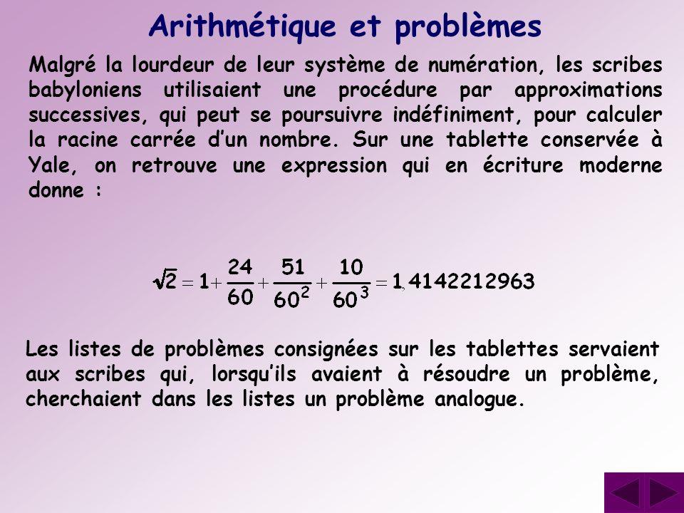 Arithmétique et problèmes