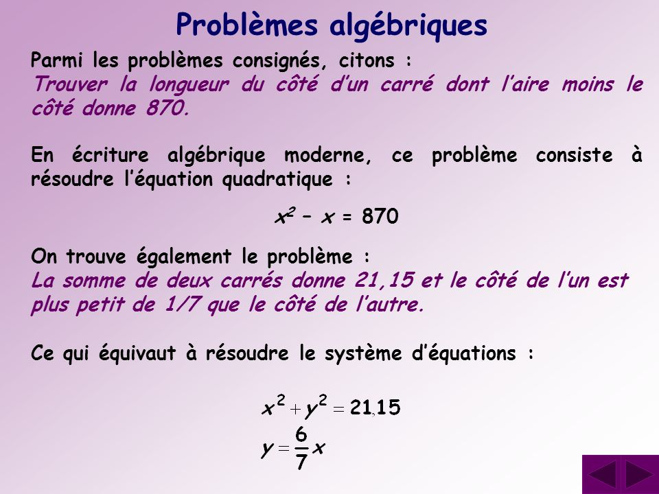 Problèmes algébriques