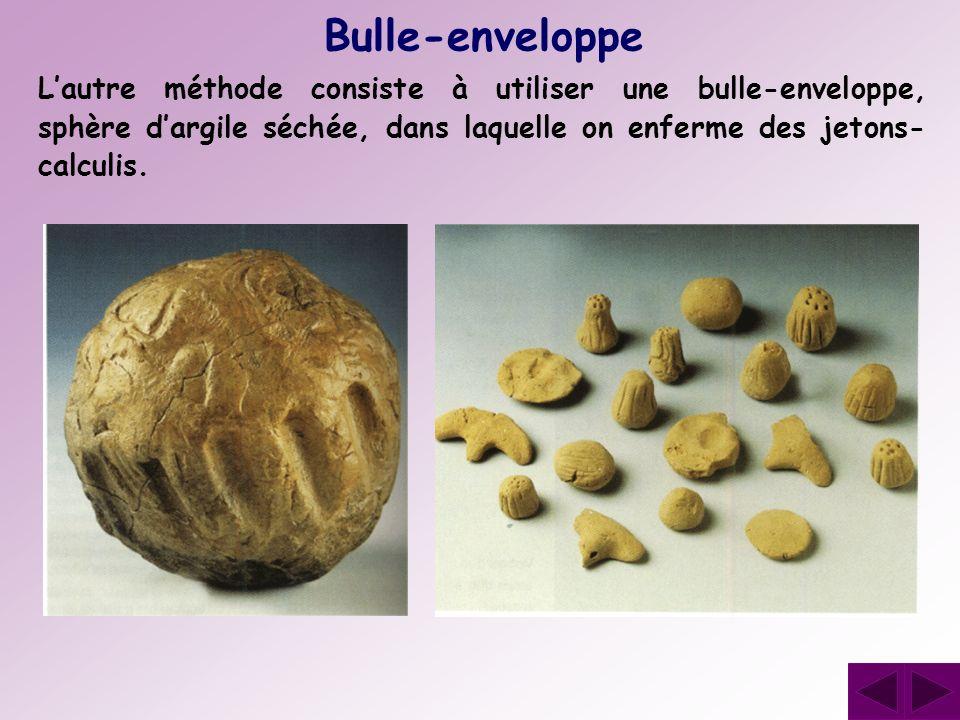 Bulle-enveloppe L'autre méthode consiste à utiliser une bulle-enveloppe, sphère d'argile séchée, dans laquelle on enferme des jetons-calculis.