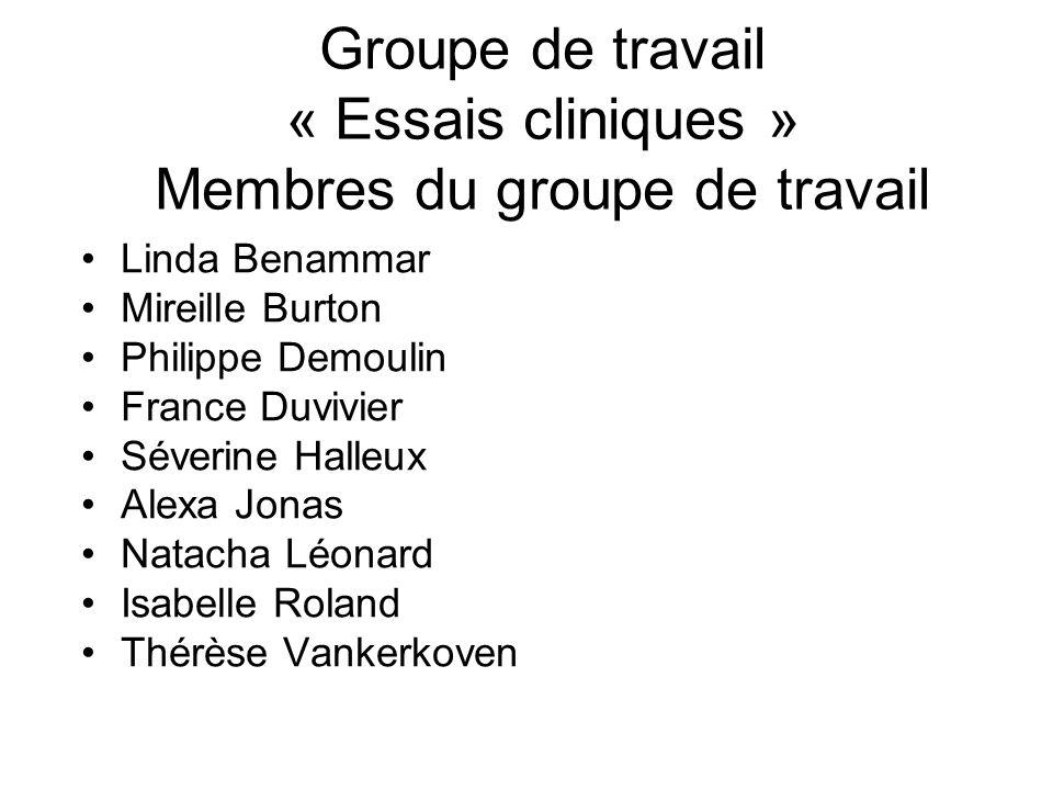 Groupe de travail « Essais cliniques » Membres du groupe de travail
