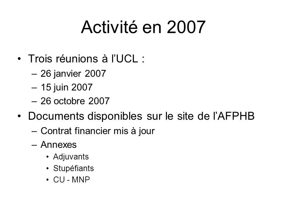 Activité en 2007 Trois réunions à l'UCL :
