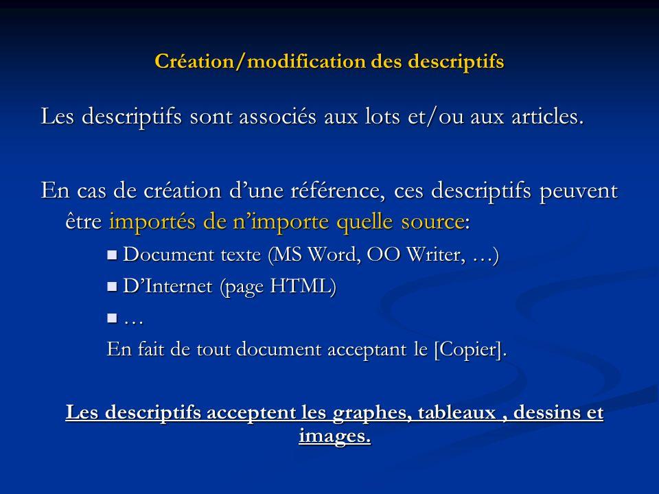 Création/modification des descriptifs