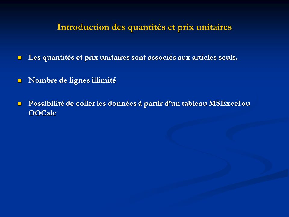 Introduction des quantités et prix unitaires