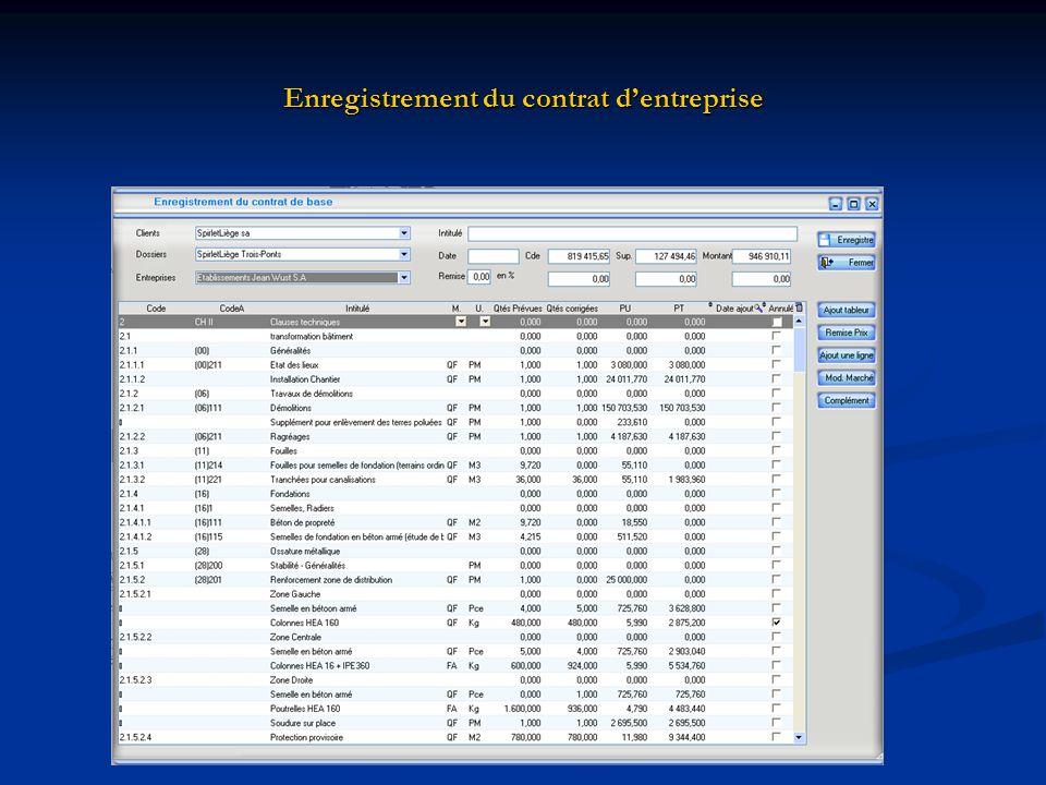 Enregistrement du contrat d'entreprise