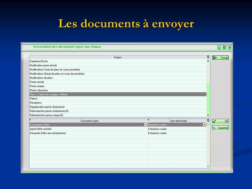 Les documents à envoyer