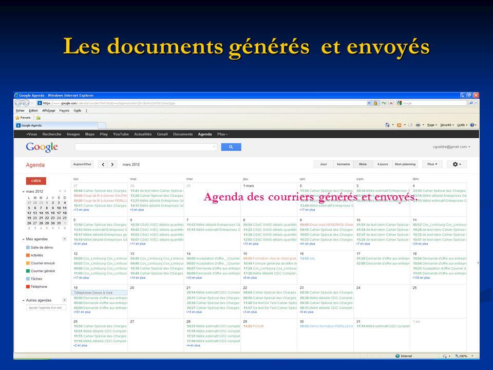 Les documents générés et envoyés