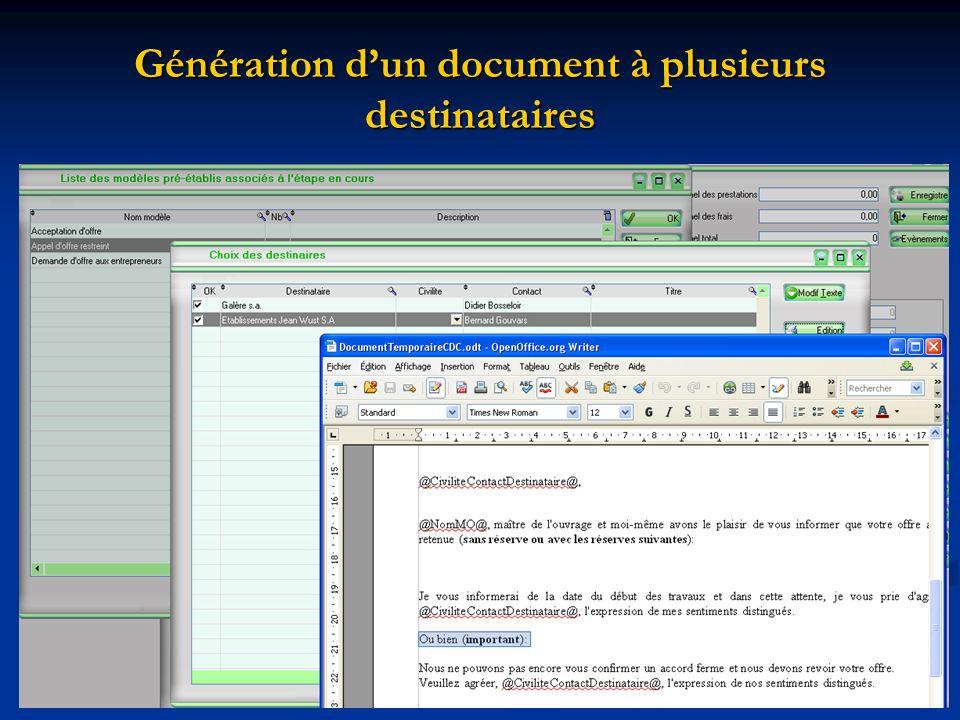 Génération d'un document à plusieurs destinataires
