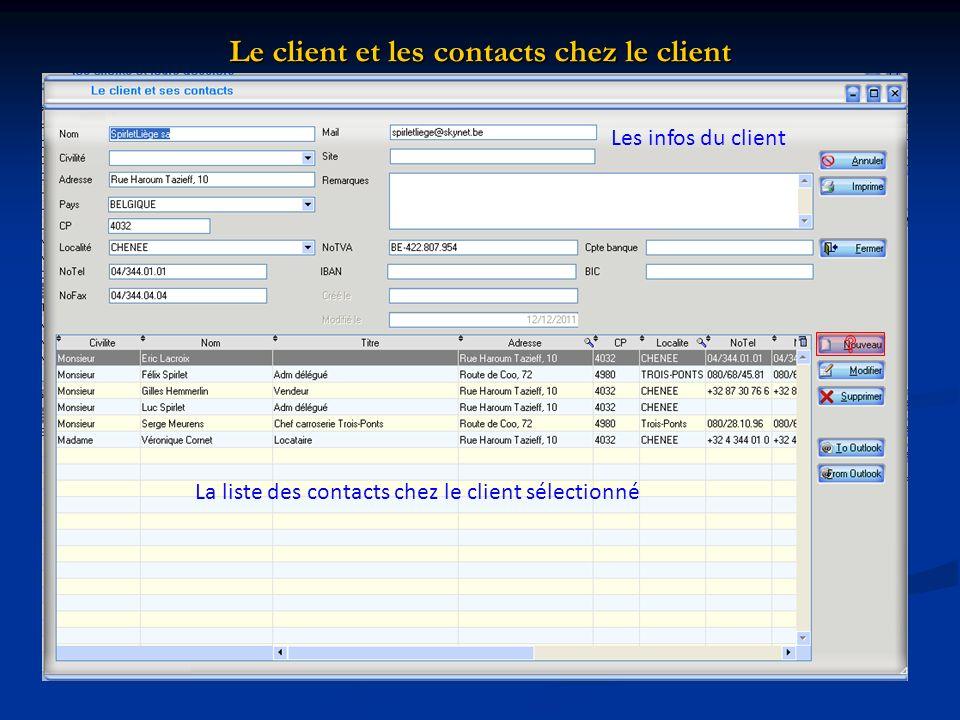 Le client et les contacts chez le client