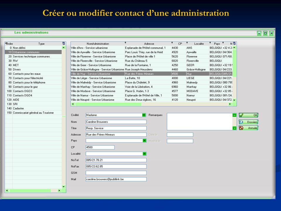 Créer ou modifier contact d'une administration
