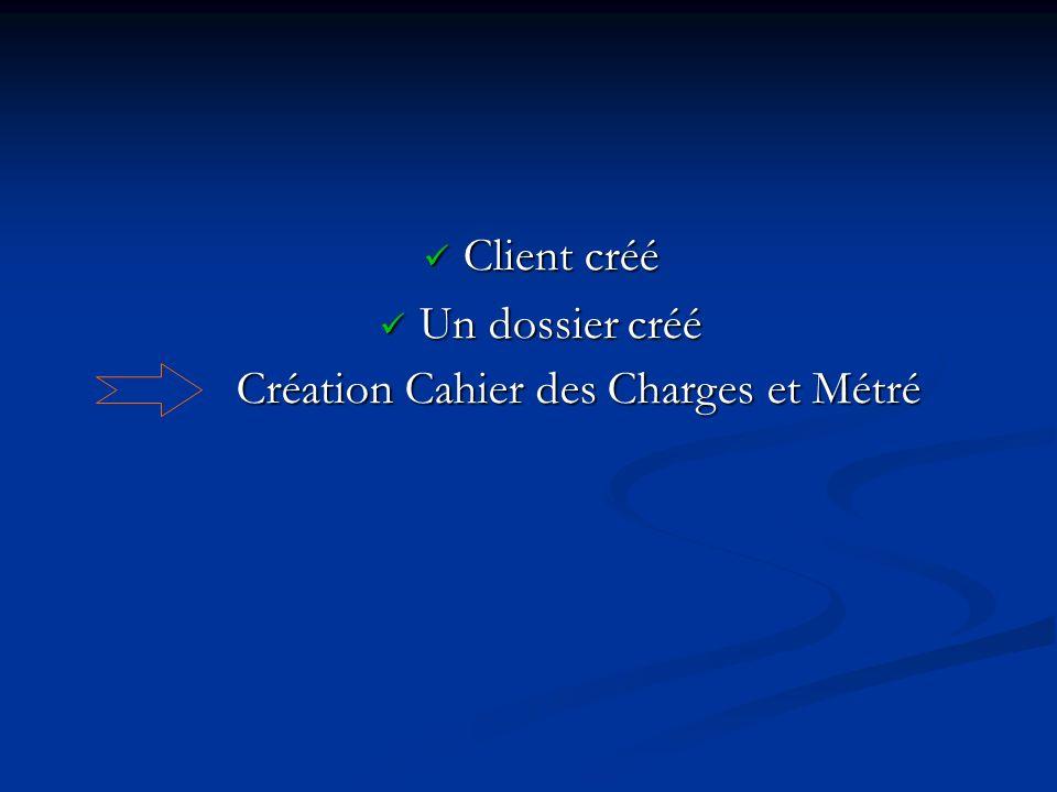 Création Cahier des Charges et Métré