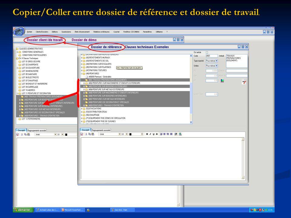 Copier/Coller entre dossier de référence et dossier de travail.