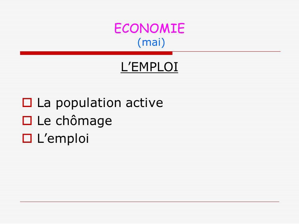 ECONOMIE (mai) L'EMPLOI La population active Le chômage L'emploi