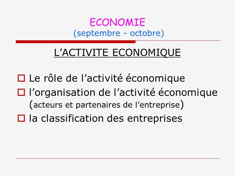 ECONOMIE (septembre - octobre)