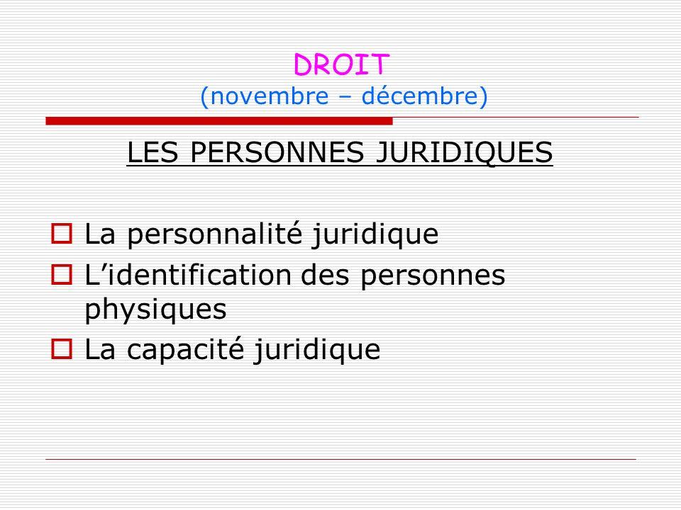 DROIT (novembre – décembre)