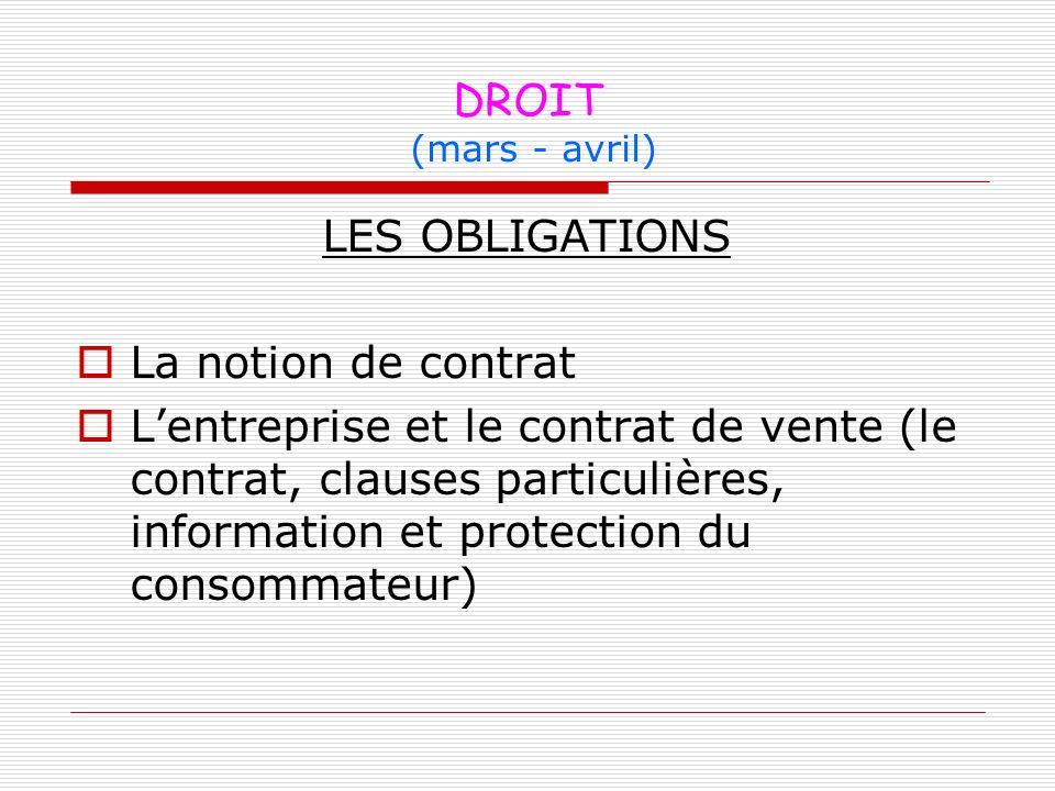 DROIT (mars - avril) LES OBLIGATIONS. La notion de contrat.