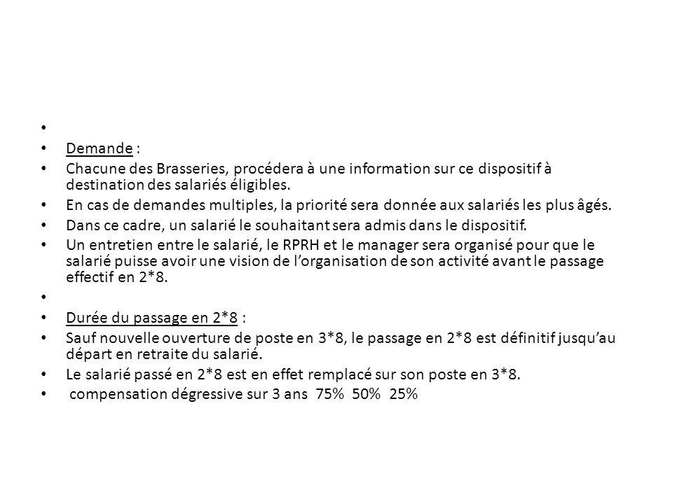 Demande : Chacune des Brasseries, procédera à une information sur ce dispositif à destination des salariés éligibles.