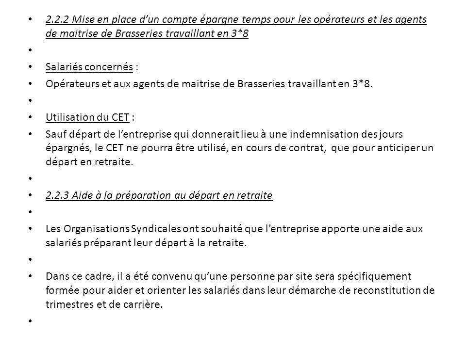 2.2.2 Mise en place d'un compte épargne temps pour les opérateurs et les agents de maitrise de Brasseries travaillant en 3*8