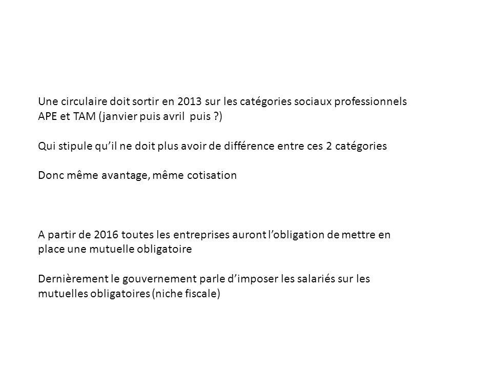 Une circulaire doit sortir en 2013 sur les catégories sociaux professionnels APE et TAM (janvier puis avril puis )