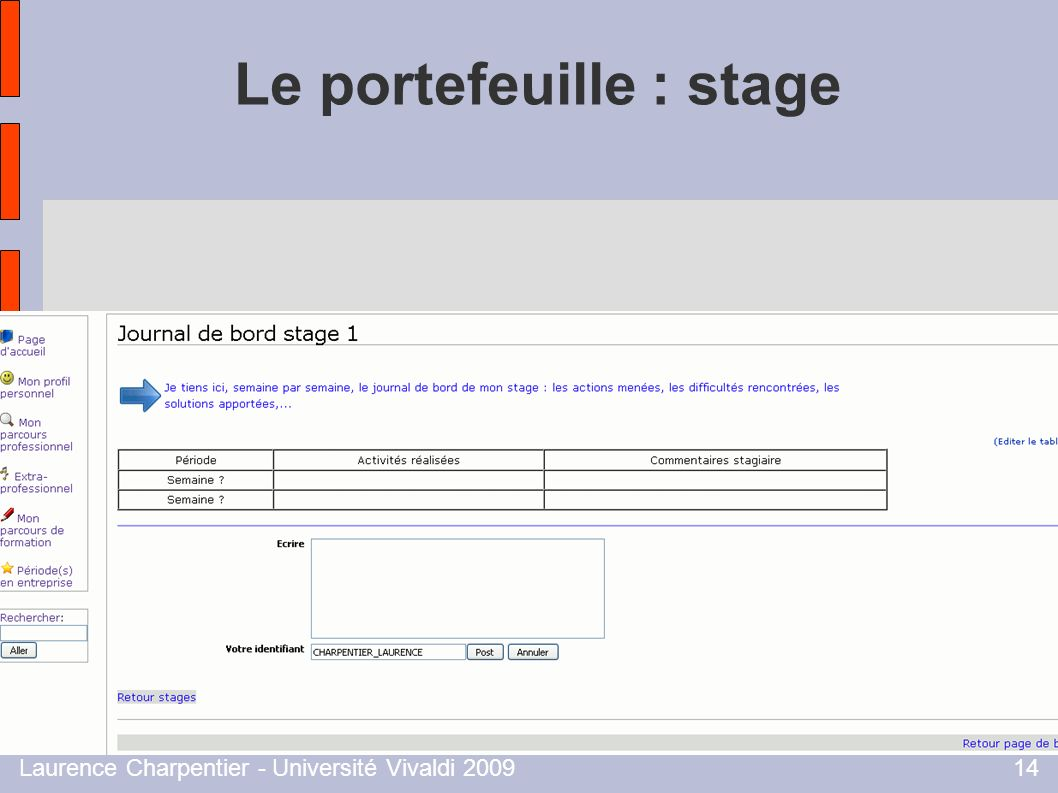 Le portefeuille : stage