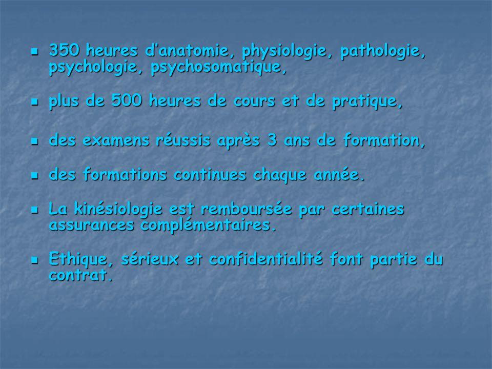 350 heures d'anatomie, physiologie, pathologie, psychologie, psychosomatique,