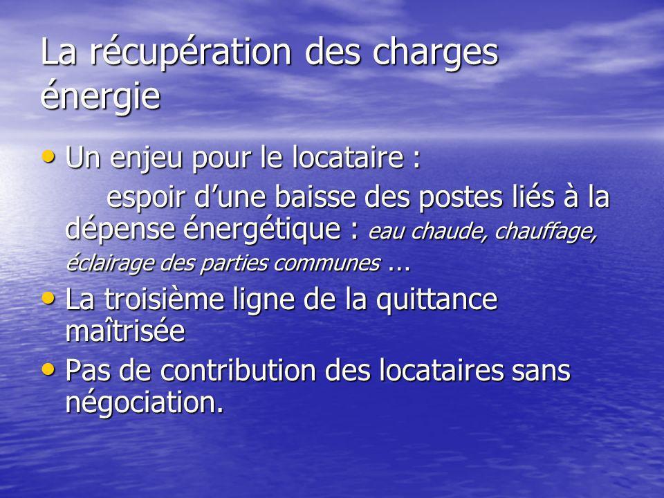 La récupération des charges énergie