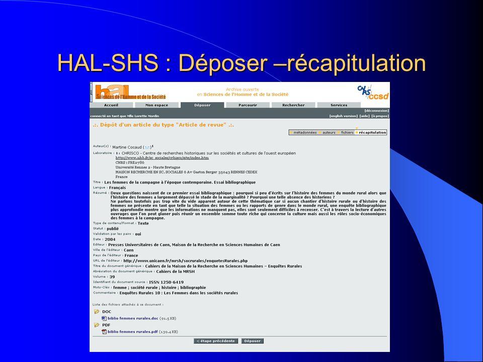HAL-SHS : Déposer –récapitulation