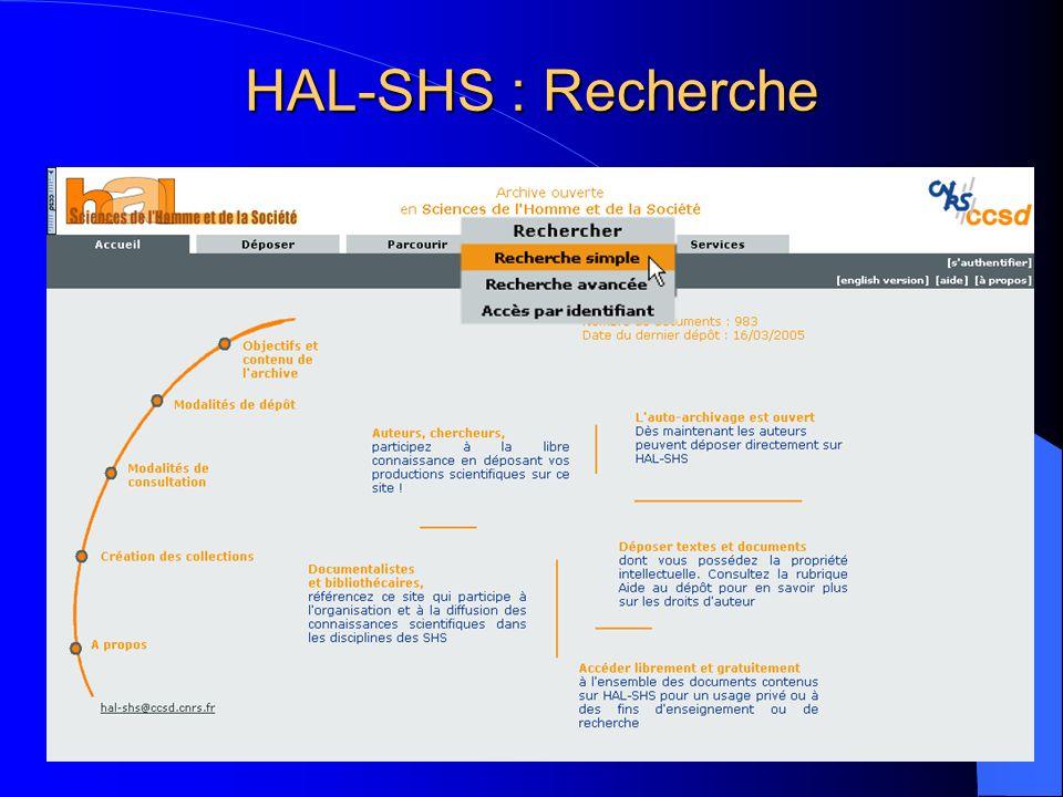 HAL-SHS : Recherche