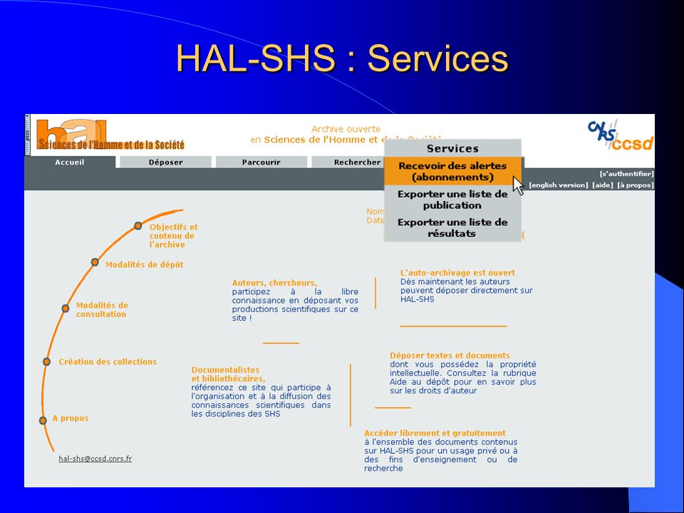 HAL-SHS : Services