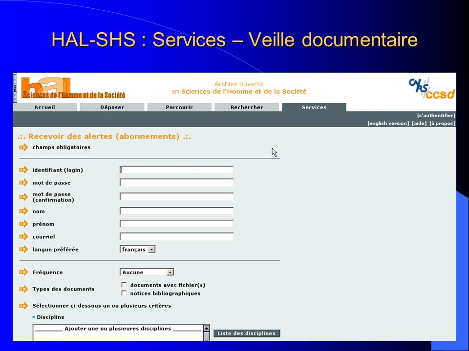 HAL-SHS : Services – Veille documentaire