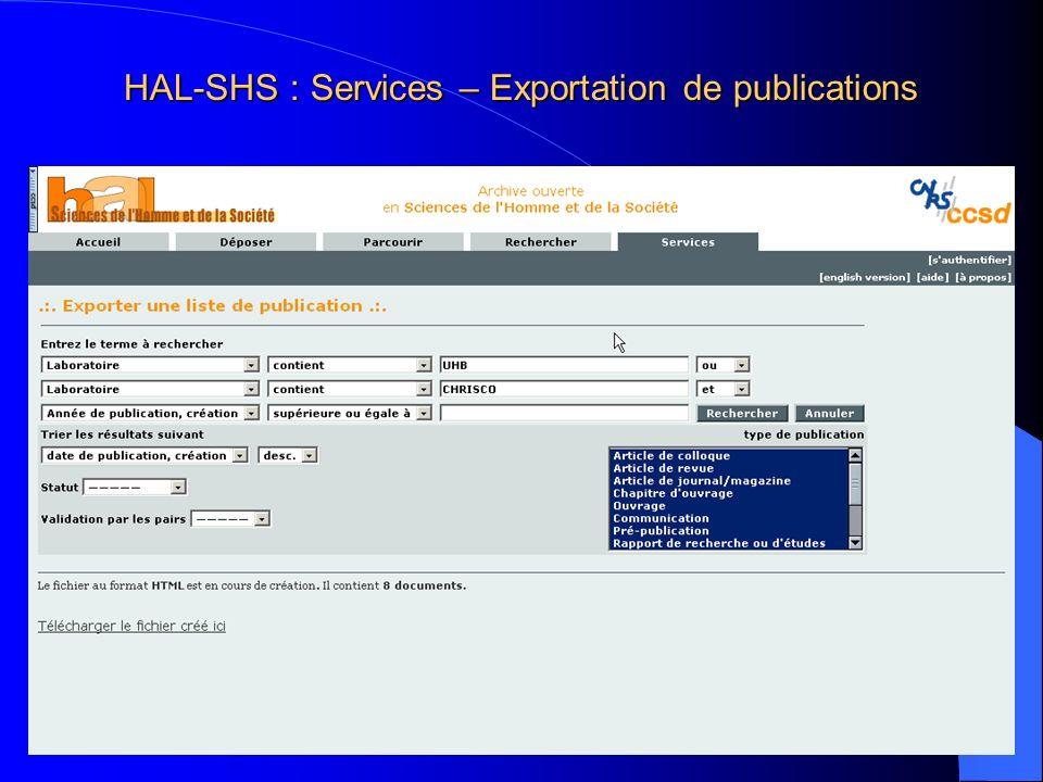 HAL-SHS : Services – Exportation de publications