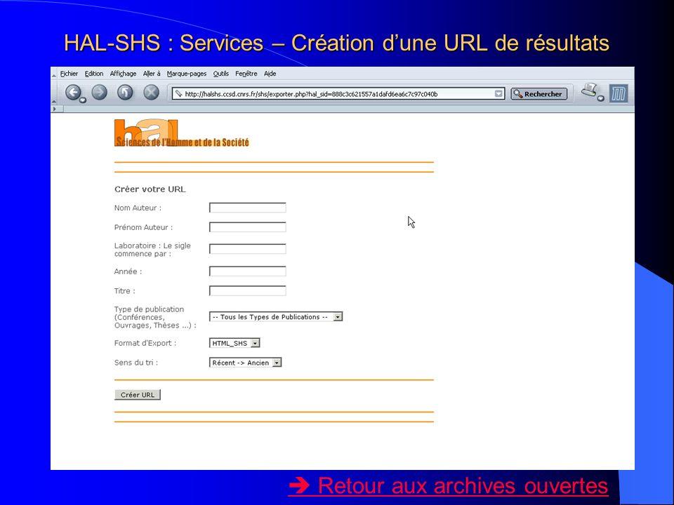 HAL-SHS : Services – Création d'une URL de résultats